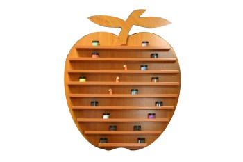 Apple - Wall Powder and Finger Rack - Dark Wooden Color (177 bottles)