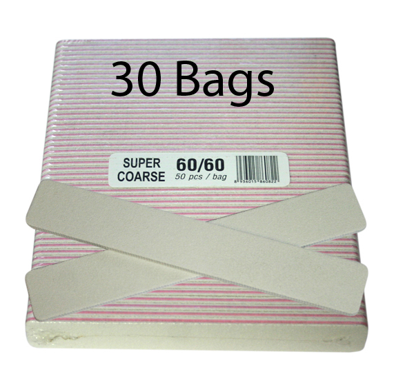 Regular Nail File - Jumbo Square White - 60/60 - 50ct/bag (40 bags)
