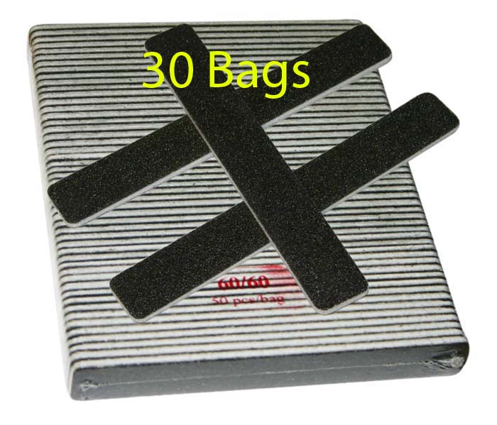 Nail File - Jumbo Square Black - 60/60 - 50ct/bag (30 bags)