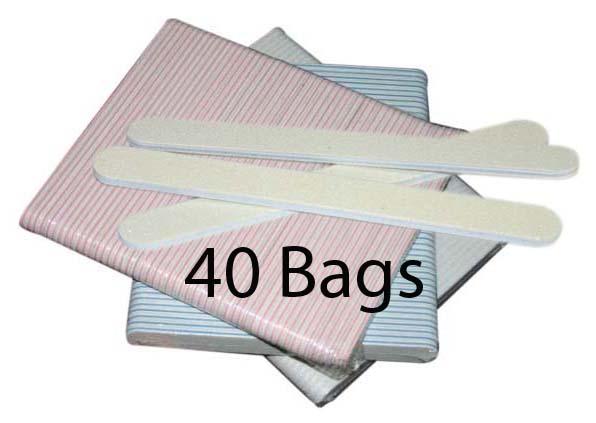 Regular Nail File - NC White - 100/100 - 50ct/bag (40 bags)